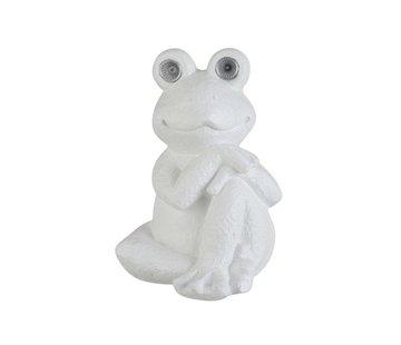 J -Line Decoration Relax Frog Solar Polyester - White
