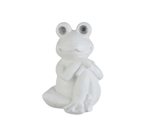 J -Line Decoration Relax Frog Solar Polyester - White
