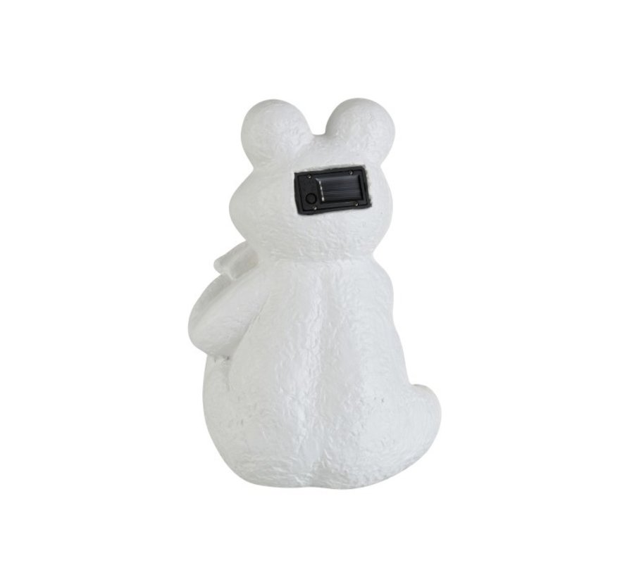 Decoration Relax Frog Solar Polyester - White