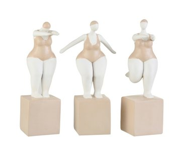 J -Line Decoration Fat Women Swimsuit Poly Beige White - Large