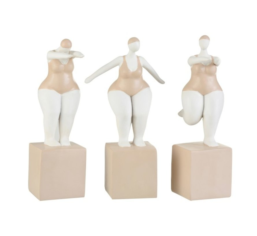 Decoration Fat Women Swimsuit Poly Beige White - Large