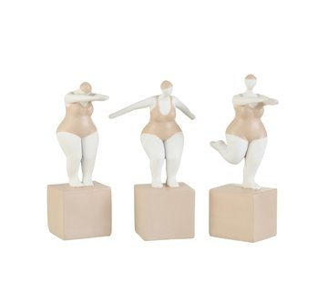 J -Line Decoration Fat Women Swimsuit Poly Beige White - Medium