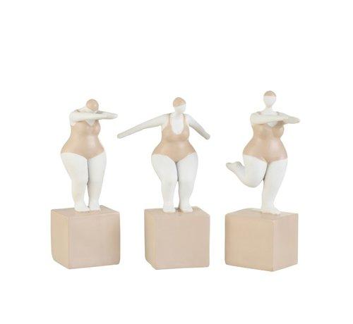 J -Line Decoratie Dikke Vrouwen Badpak Poly Beige Wit - Medium