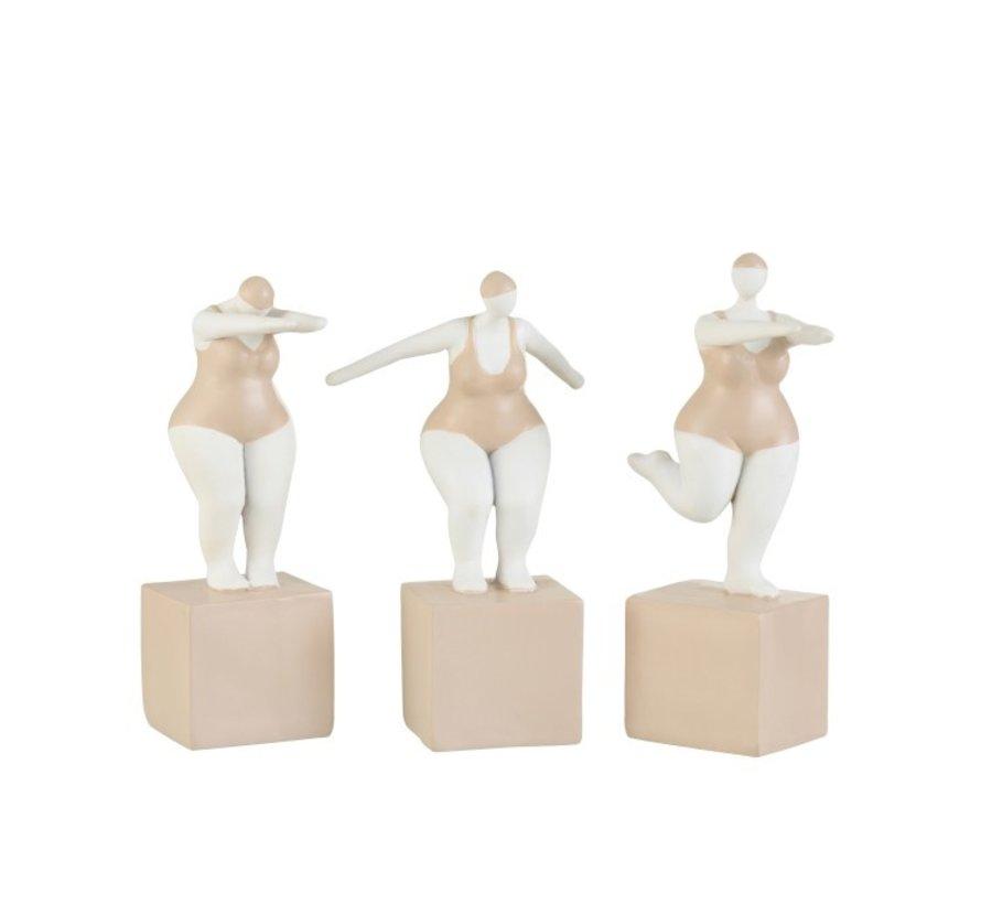 Decoration Fat Women Swimsuit Poly Beige White - Medium