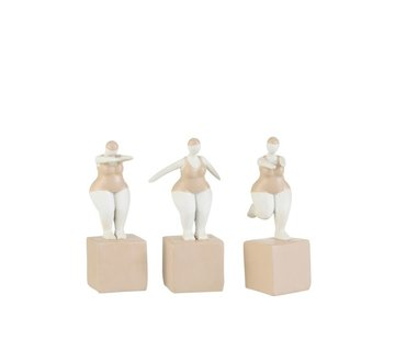 J -Line Decoration Fat Women Swimsuit Poly Beige White - Small