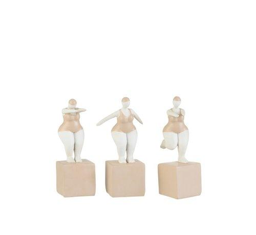 J -Line Decoratie Dikke Vrouwen Badpak Poly Beige Wit - Small