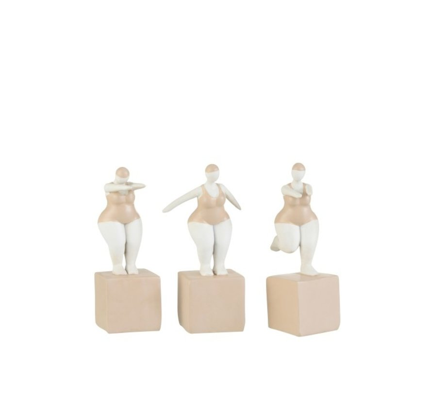 Decoration Fat Women Swimsuit Poly Beige White - Small