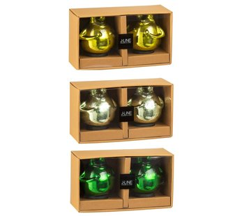 J -Line Decoratie Drijvende Kikkers Glas Mix Groen - Medium