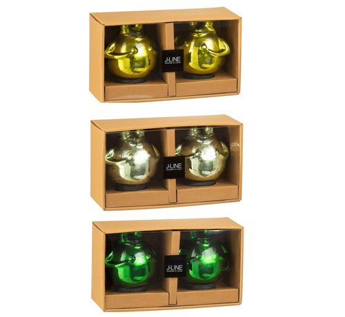 J -Line Decoration Floating Frogs Glass Mix Green - Medium