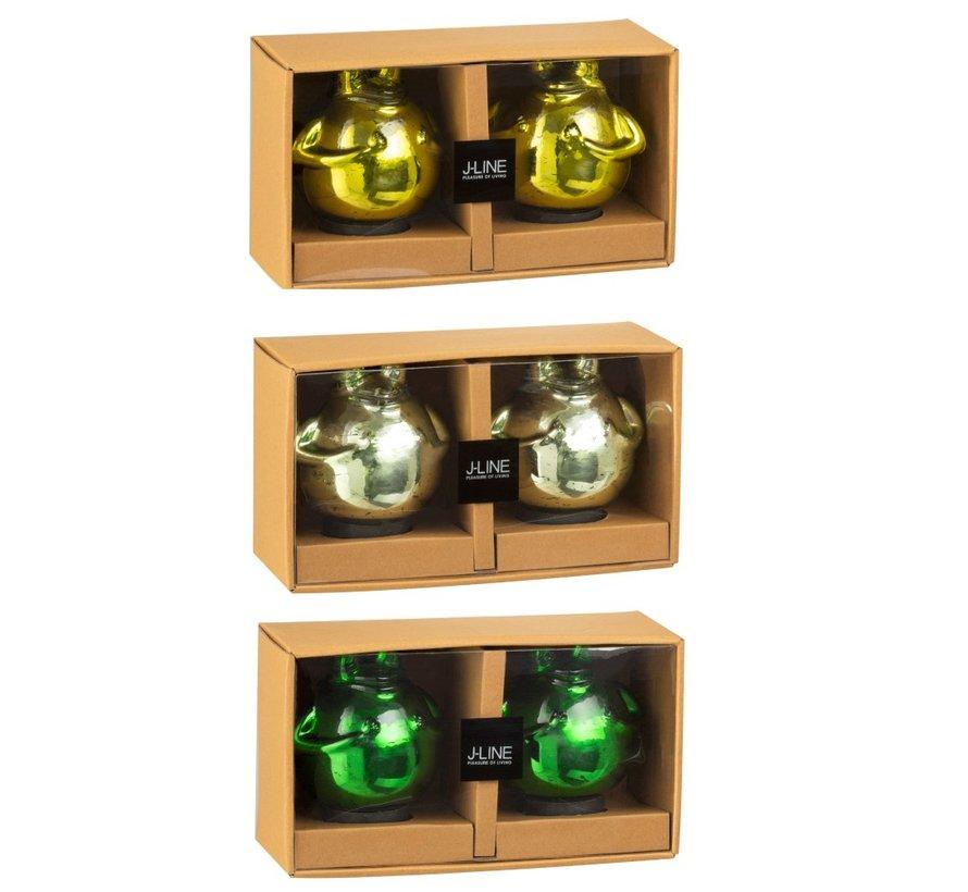Decoratie Drijvende Kikkers Glas Mix Groen - Medium