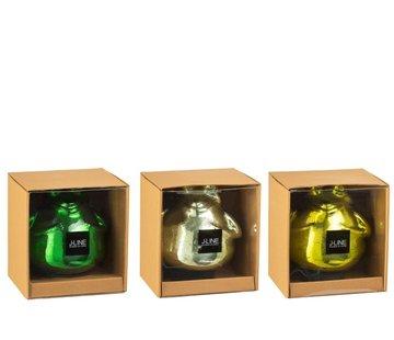 J -Line Decoratie Drijvende Kikkers Glas Mix Groen - Large