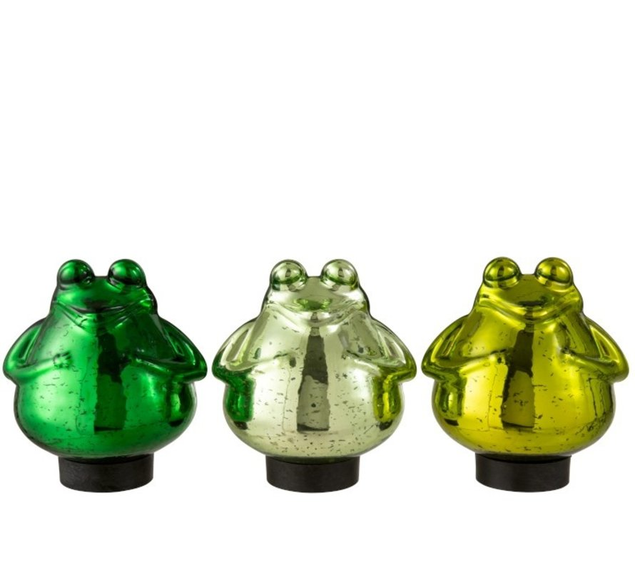 Decoration Floating Frogs Glass Mix Green - Large