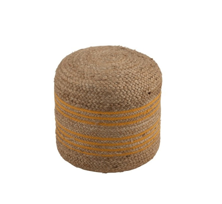 Pouf Round Striped Jute natural Brown - Ocher