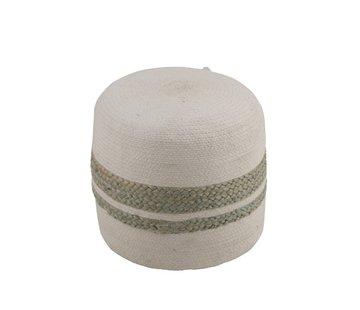 J-Line  Pouf Round Striped Jute White Green - Gray