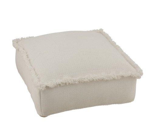 J -Line Pouf Cotton Square Low Fringes - Beige