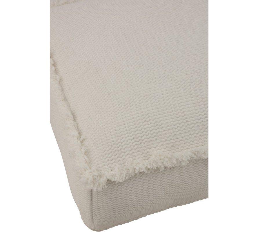 Pouf Cotton Square Low Fringes - Beige