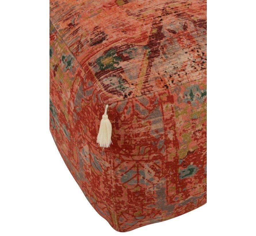 Pouf Square Oriental Patterns Fringes Mix - Colors