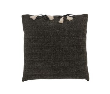 J -Line Cushion Square Cotton Plain Knotted tassels - Gray
