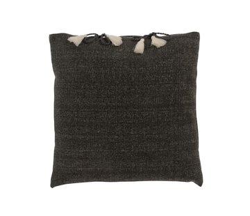 J-Line Cushion Square Cotton Plain Tassels - Gray