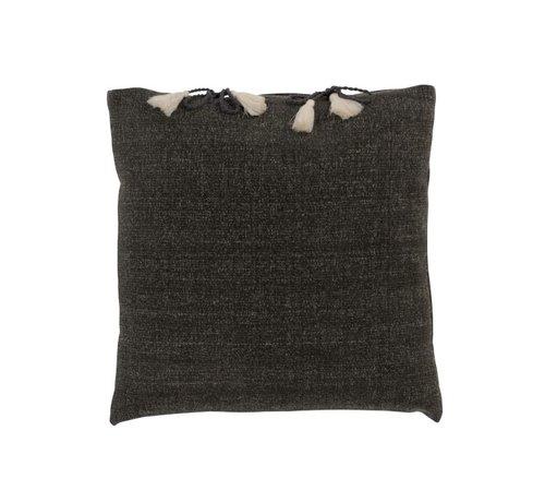 J -Line Cushion Square Cotton Plain Tassels - Gray