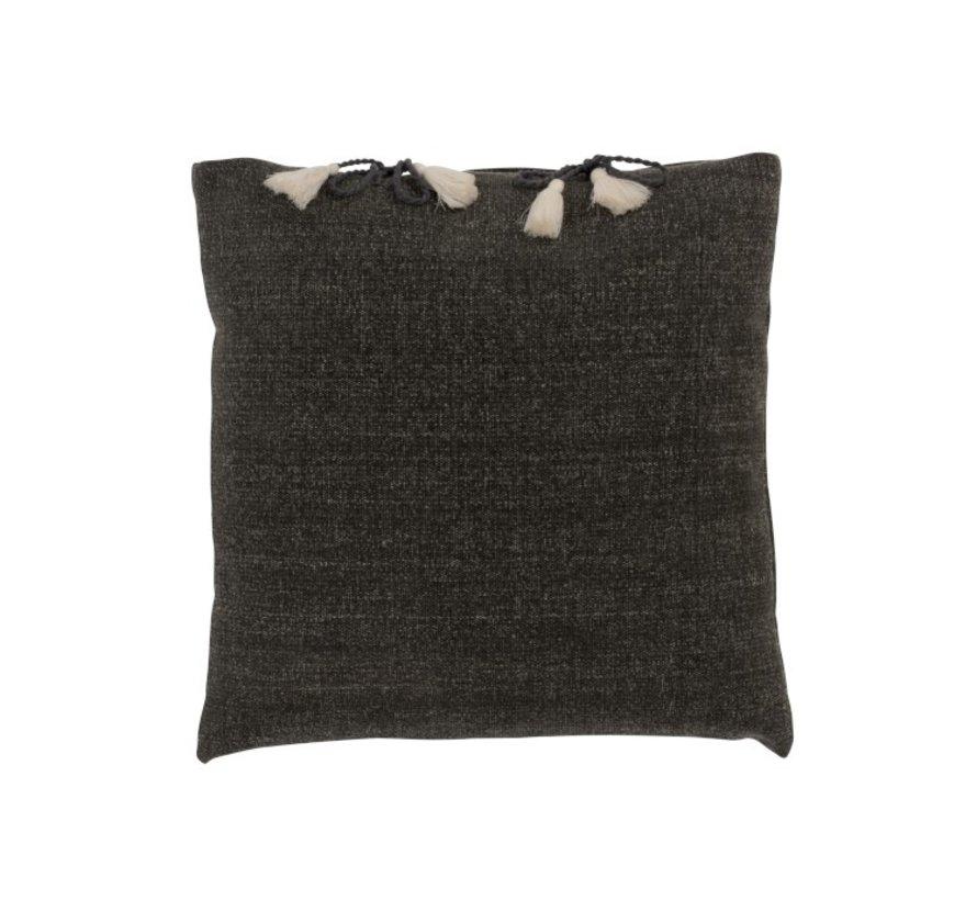 Cushion Square Cotton Plain Tassels - Gray