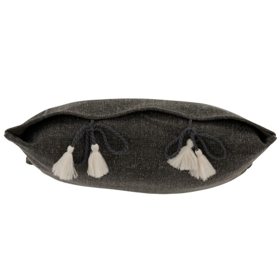 Cushion Square Cotton Plain Knotted tassels - Gray