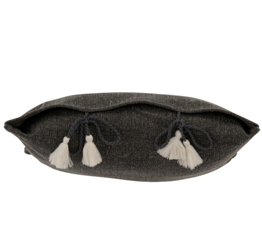 Kussen Vierkant Katoen Effen kwastjes - Grijs