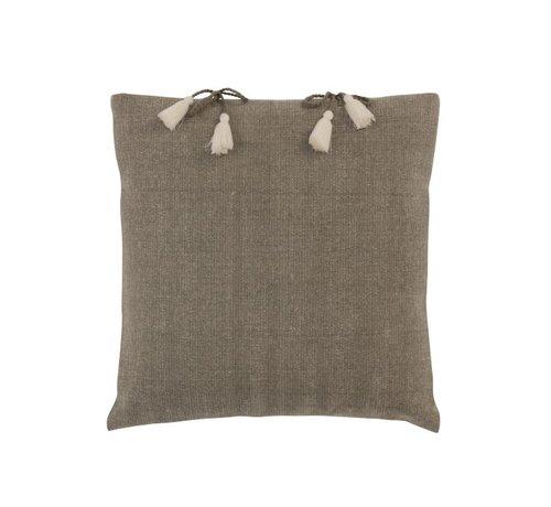 J -Line Cushion Square Cotton Plain Knotted tassels Gray - Beige