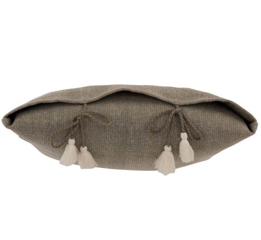 Kussen Vierkant Katoen Effen Geknoopt kwastjes Grijs - Beige
