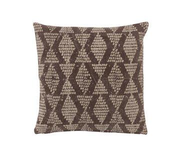 J-Line Cushion  Cotton Checkered Pattern Black - Beige