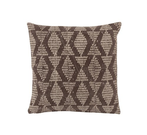 J -Line Cushion Square Cotton Checkered Pattern Faded Black - Beige