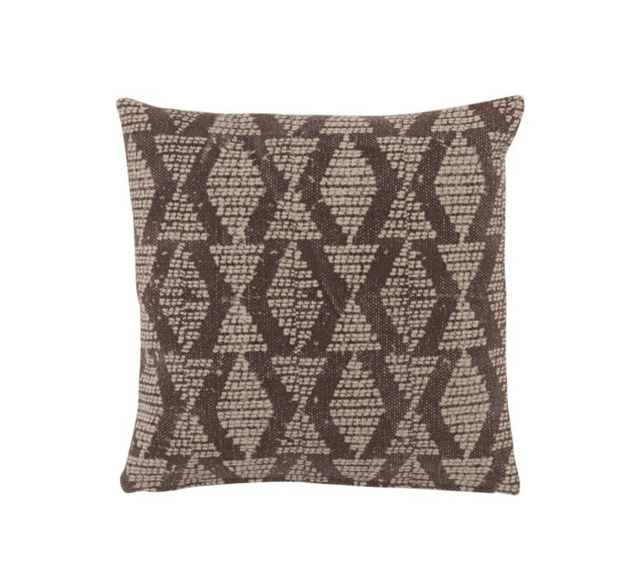 Cushion Square Cotton Checkered Pattern Faded Black - Beige