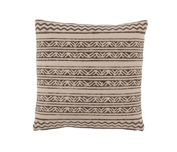 J -Line Cushion Square Cotton Triangle Motif Faded Black - Beige