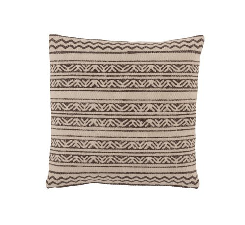 J -Line Cushion Square Cotton Triangle Motif Faded Black - Beige