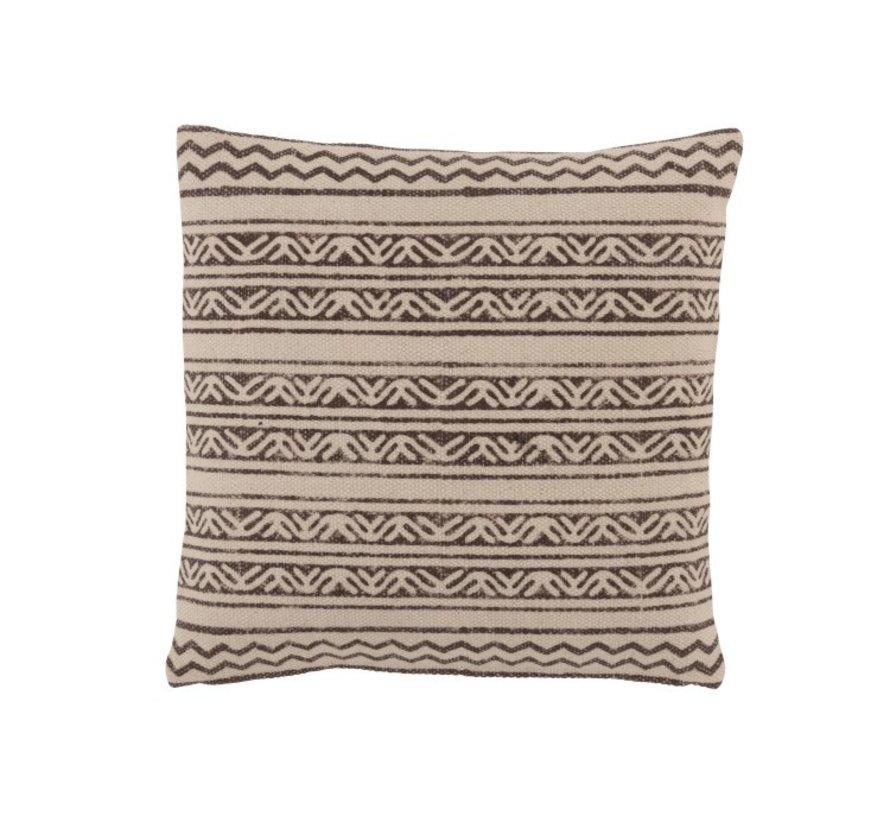 Cushion  Cotton Triangle Motif Black - Beige