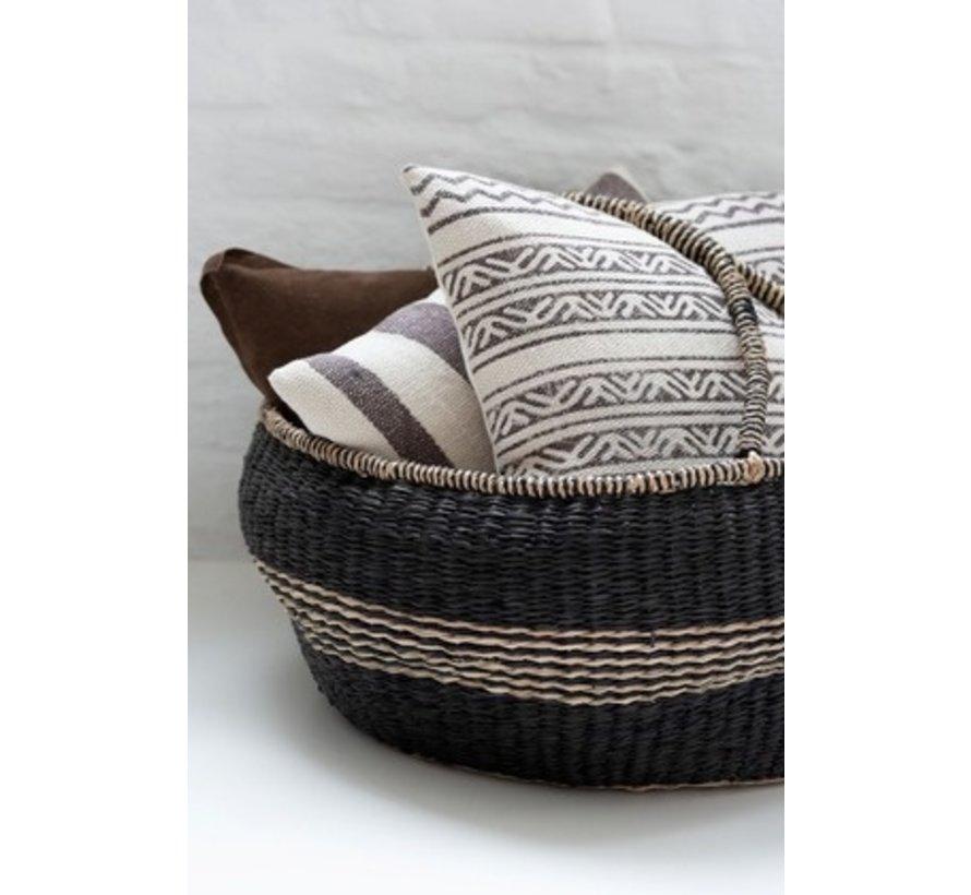 Cushion Square Cotton Triangle Motif Faded Black - Beige