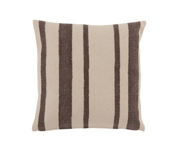 J -Line Cushion Cotton Stripes Black - Beige