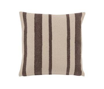 J -Line Cushion Square Cotton Odd Stripes Faded Black - Beige