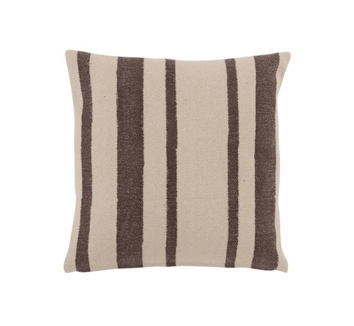 J -Line Cushion Cotton  Stripes Black - Beige