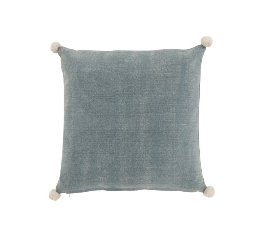 Cushion Square Cotton Pompon Blue - White