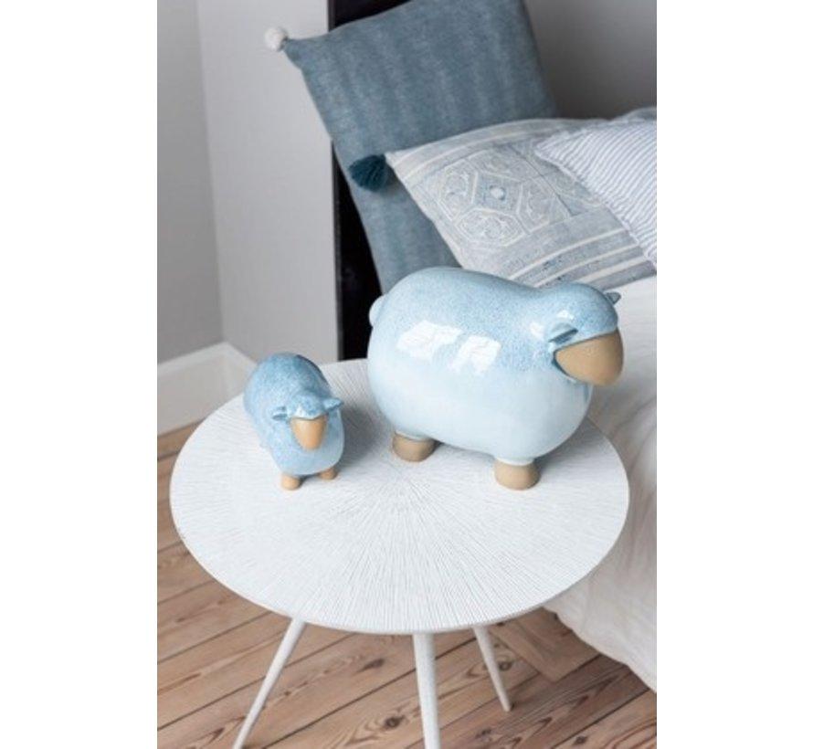 Kussen Vierkant Katoen Pompon Blauw - Wit