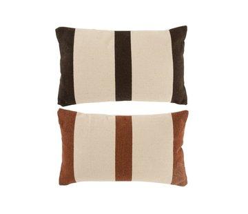 J -Line Cushions Rectangle Cotton Stripes Mix Brown - Beige