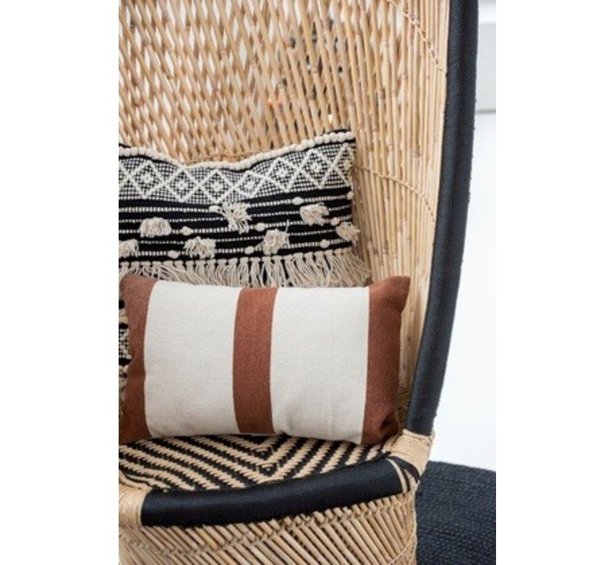 Cushions Rectangle Cotton Stripes Mix Brown - Beige