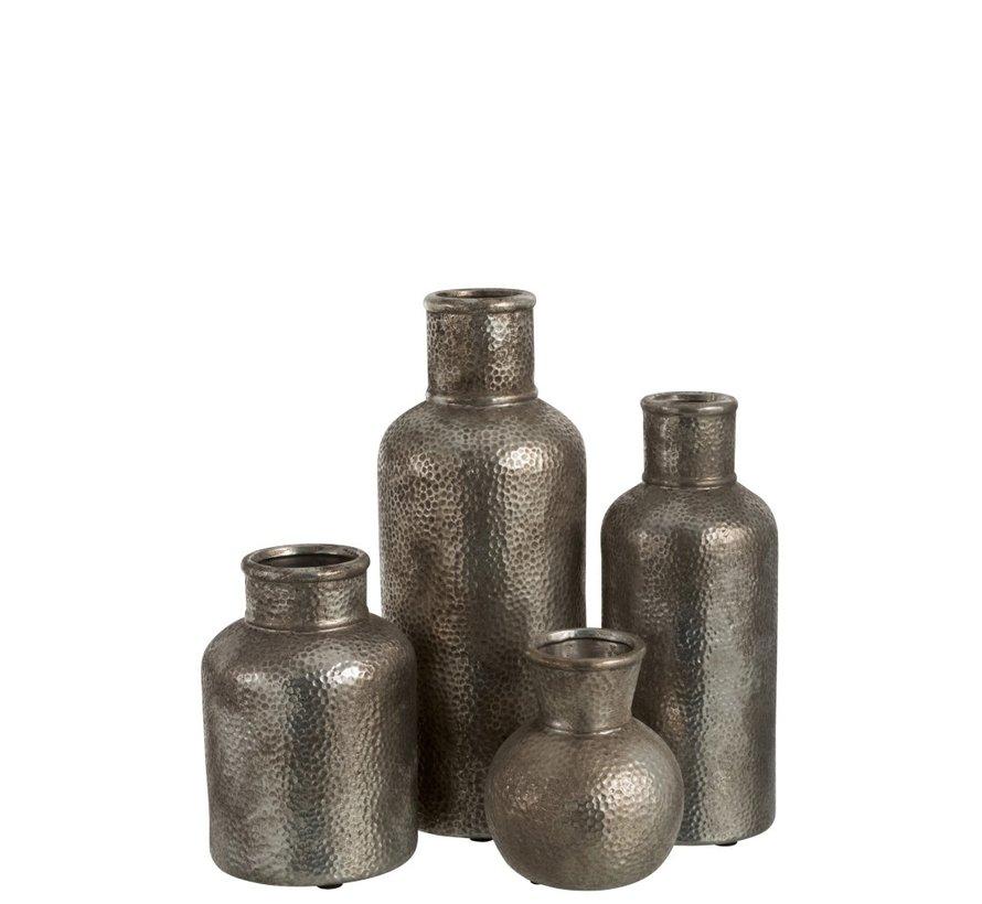 Bottle Vase Sphere Hammered Earthenware - Silver