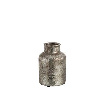 J -Line Bottle Vase Hammered Earthenware Silver - Small