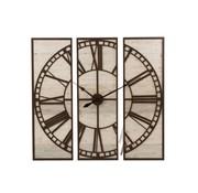 J -Line Wandklok Driedelig Vierkant Romeinse Cijfers Hout Wit - Bruin