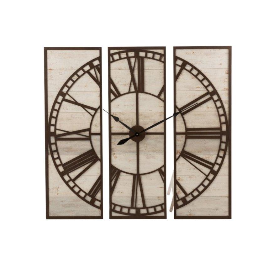 Wandklok Driedelig Vierkant Romeinse Cijfers Hout Wit - Bruin