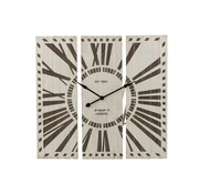 J-Line Wall Clock Three-piece Roman Numerals Brown - White