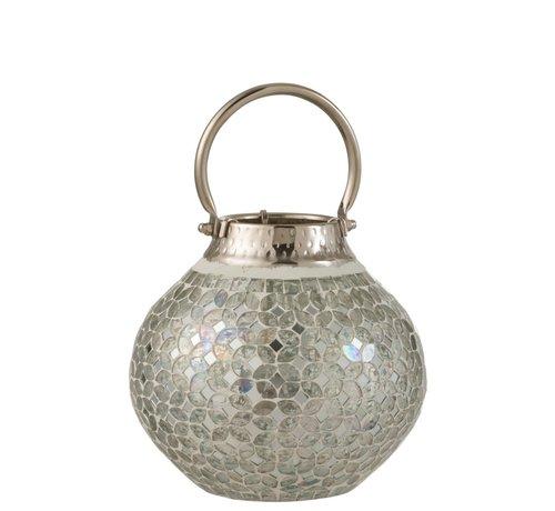 J -Line Lantaarn Glas Mozaiek Met Handvat - Zilver