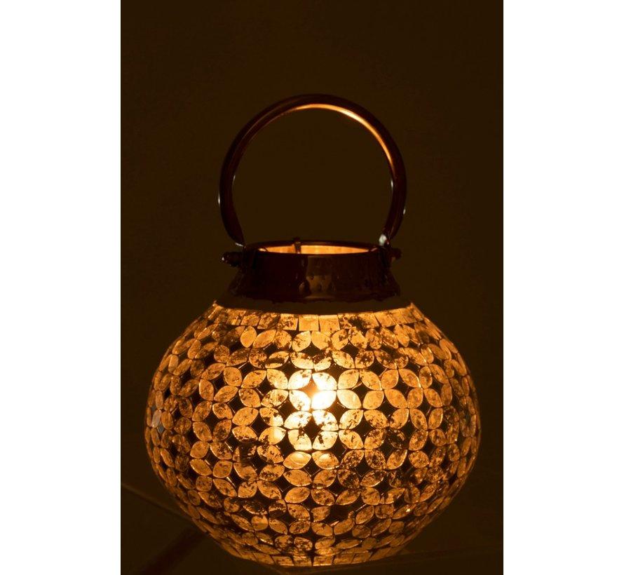 Lantaarn Glas Mozaiek Met Handvat - Zilver